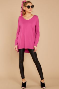 830b0f3a01 Vibrant Hot Pink Knit Sweater - Oversized V Neck Sweater - Top -  36 – Red