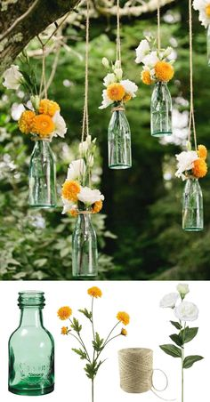 Easy and low cost wedding decorations! Make this beautiful hanging bottle display with silk flowers for your backyard or outdoor wedding! #diywedding