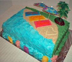 Photo Of A Luau Birthday Cake Decorated With Beach Scene And Three