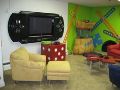 the PSP screen idea would be awesome for a game room :)