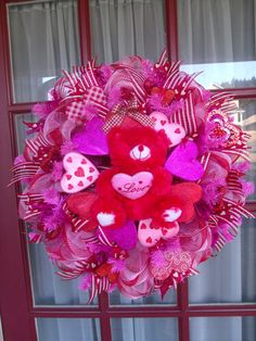 valentines mesh wreaths   Valentine's Day Deco Mesh Door Wreath in Red and Pink