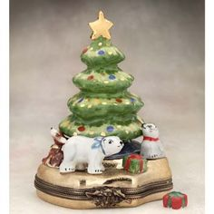 Limoges Christmas tree with animals box