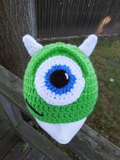 Monsters Inc Inspired Mike W Crocheted Hat/ Made To Order Character Hat/ Handmade Crocheted Monsters Inc Inspired Photo Prop on Etsy, $20.00