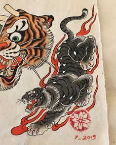 Some flash is available for tattoos. Japanese Tattoo Art, Japanese Tattoo Designs, Japanese Sleeve Tattoos, Japanese Tiger Art, Traditional Tattoo Art, Traditional Japanese Tattoos, Japan Tattoo Design, Dragon Tattoo Arm, Retro Kunst