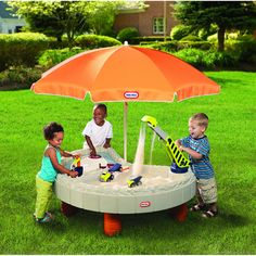 Little Tikes Builders Bay Sand and Water Table with Large Umbrella, Multi-purpose Lids - $99.97
