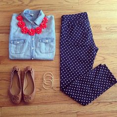 Southern Charm. Chambray top and polka dot pants