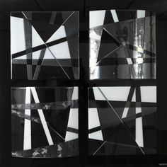 Wall hung object 'Black Beauty: 100 x 100 x 5 cm (Bullseye glass)