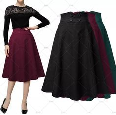 This is a lovely A-Line pleated skirt. Made of cotton, nylon and spandex. Available in four color choices: Red Wine, Navy Blie, Black and Green. Skirt is knee length with a zipper closure. Available in US sizes 4 - 14.    This item ships to US addresses within seven (7) days. 📦 | Shop this product here: http://spreesy.com/UyleesBoutique/581 | Shop all of our products at http://spreesy.com/UyleesBoutique    | Pinterest selling powered by Spreesy.com