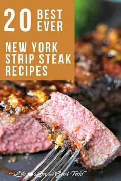 Looking for a good way to cook a New York strip steak? We have all the answers in this collection of the 20 BEST EVER New York Strip Steak Recipes. Learn all the secrets to cooking the perfect New York strip on the grill, on the stove, in the oven, and even in the air fryer! #steak #beef #newyorkstripsteak Grilled Burger Recipes, Good Steak Recipes, Grilled Turkey Burgers, Best Beef Recipes, Easy Pasta Recipes, Grilling Recipes, Seafood Recipes, Cooking Recipes, Slow Cooker Beef Tenderloin