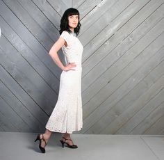 vintage 1940s white ribbon crochet dress - perfect for a casual wedding!