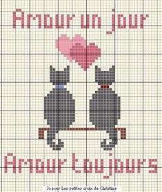 Cross stitch pattern ~ Kitties in love (no thread chart)