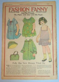 Fashion Fanny paper doll Polly paper doll has new dresses tried on. 1922 From Ebay