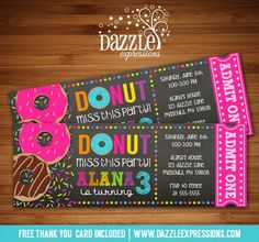 Printable Chalkboard Donut Ticket Birthday Invitation | Doughnut | Sprinkles | Pajamas Party | Breakfast Party | Digital File | Kid Birthday Party Idea | FREE thank you card | Party Package Available | Banner | Cupcake Toppers | Favor Tag | Food and Drink Labels | Signs | Candy Bar Wrapper | www.dazzleexpressions.com