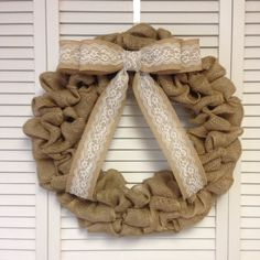Burlap & Lace Burlap Wreath with Removable Burlap and Lace Bow, Wreath for All Year - pinned by pin4etsy.com