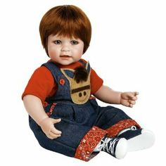 """Adora Baby Doll 20"""" Giddy Up Boy (Red Hair/Blue Eyes) by Adora. $79.75. 20"""" from head to toe with a weighted body to feel like real baby complete with diaper. Perfect for 6+ ages. Baby powder scented high quality vinyl toddler doll for hours of playtime fun. Gorgeous shiny red hair. Beautiful hand set blue eyes, hand painted details and hand applied eyelashes. From the Manufacturer                20"""" Red Hair/Blue Eyes. Howdy Partner. Time to saddle up next to this little red hea..."""