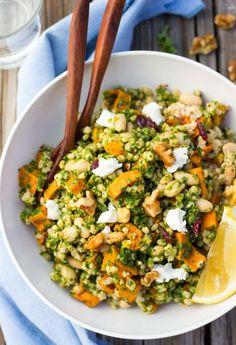 Sorghum, Sweet Potato & White Bean Salad with Kale Pesto