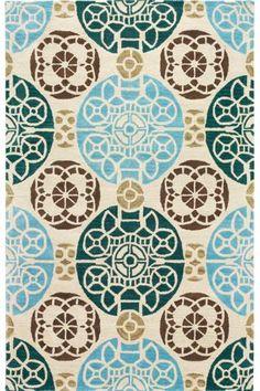 teal and brown rug