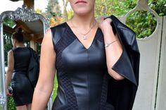 Jus d'orange Paris Dress £75, Jus d'orange Paris Jacket £100, Martine Wester Necklace £19, Bracelet £16, Black Bag £28