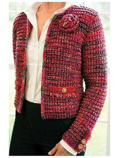 Perfect for any occasion, from jeans to dressy! Knit with 1050 yds of two fingering-weight yarns (Yarn A & B) and one lace-weight yarn (Yarn C) held together throughout. Knit at a gauge of 18 sts per 4 Gilet Crochet, Crochet Coat, Crochet Jacket, Crochet Cardigan, Crochet Clothes, Baby Cardigan, Cardigan Sweaters, Chanel Style Jacket, Chanel Jacket Trims