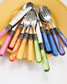 Found at Horchow.com, this is one really fun flatware set! It's called Napoleon. Don't you just love?