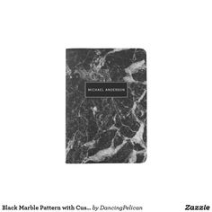 Black Marble Pattern with Custom Monogram Passport Holder - An attractive way to protect your passport, this modern design features a black and white marble pattern with a black rectangular frame that contains your name or other desired text. Sold at DancingPelican on Zazzle.