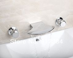 62.90$  Buy here - http://aiqzk.worlditems.win/all/product.php?id=1740067874 - New  Deck Mounted  Hot/Cold Water Double Handles Bathroom Bathtub Basin Sink Mixer Tap 3 pcs Chrome Faucet Set FG-3219