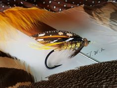 River Grand Wet (#10)...tied in hand. Tip.....Xs oval gold tinsel. Tail.....GP crest. Butt.....Brown wool. Body.....Dyed Gold Searl fur. Ribs....Large oval Gold tinsel. Hackle.....Natural Drake Brown (Indian cock). Throat.....Grouse (Brown). Under wing....2 Dyed Yellow Indian Cock hackle. Wing....Married Kori , Florican bustard , Argus , Orange goose shoulder. Side....Gounia wing. Head....Brown wool. By Jin Woo Lee