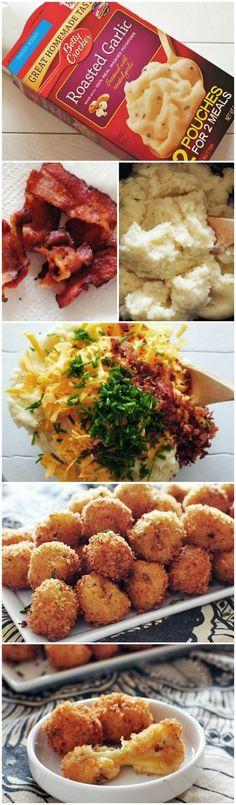 Zakje puree, geraspte kaas, bieslook, uitgebakken spekjes, paneren, frituren,  en smullen maar.