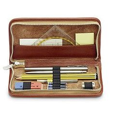 """Attend your next class or meeting in style and carry all your writing implements in style with the Sonnenleder """"Nietzsche"""" Pen and Pencil Leather Case. Made of the finest vegetable-tanned Sonnenleder Leather Pencil Case, Leather Cover, Nietzsche Art, Midori, Travel Crafts, Pens And Pencils, Stationery Pens, Leather Projects, Leather Crafts"""