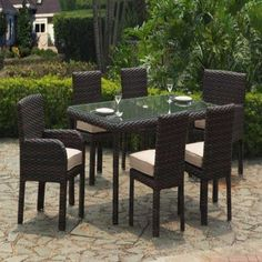 Saint Tropez Outdoor 7 Pc Dining Set Model By South Sea Rattan - American Rattan Furniture - Fire Pit Furniture, Garden Furniture, Outdoor Furniture Sets, Furniture Ideas, Rattan Furniture, Outdoor Dining Set, Patio Dining, Outdoor Decor, Outdoor Retreat
