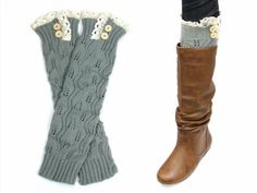 11.76$  Watch here - http://vigrm.justgood.pw/vig/item.php?t=imgaf343962 - Lil+Lo Vintage Crochet Long Leg Warmers or Boot Socks with Buttons GRAY Jl