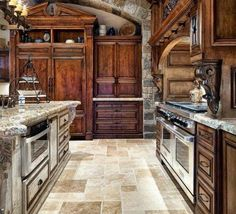 European Kitchen Design with Amusing Hanging Lamp and Tuscany Kitchen Cabinets