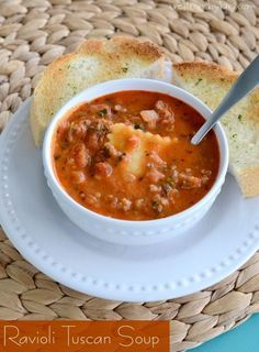 Recipe for hearty and delicious Ravioli Tuscan Soup. Easy and delicious! #MyTuscanTable