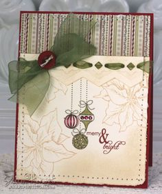 christmas card - I love the use of the square punch peek-a-boo for the ribbon!