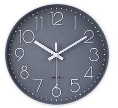 12 Inch Non-Ticking Wall Clock Silent Battery Operated Round Wall Clock Modern Simple Style Decor Clock for Home/Office/School/Kitchen/Bedroom/Living Room... Wall Clock Hd, Grey Wall Clocks, Best Wall Clocks, Wall Clock Silent, Kitchen Wall Clocks, Style Gris, Wall Clock With Temperature, Bedroom Clocks, Bedroom Decor