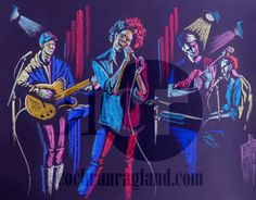 "Outdoor Band, April 2012. 3 musicians plus singer on outdoor stage in blues and reds on violet paper. Framed in rustic white with ivory mat, 24.875 x 19"" (63 x 48 cm). $545 plus shipping."