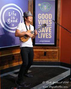 Jake Shimabukuro performing at the Life is good flagship store on Newbury Street in Boston.