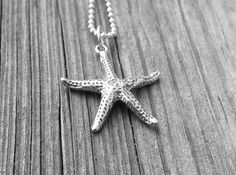 Starfish Necklace Sterling Silver by GirlBurkeStudios on Etsy, $27.00