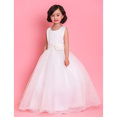 A-line Jewel Ankle-length Satin And Tulle Flower Girl Dress(More Colors) – EUR € 50.54