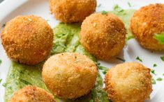 <p>In this recipe, these crispy potato croquettes have a savory, sweet, and spicy eggplant filling that's surrounded by creamy mashed potatoes. They're paired with a creamy and irresistible avocado sauce for dipping</p>
