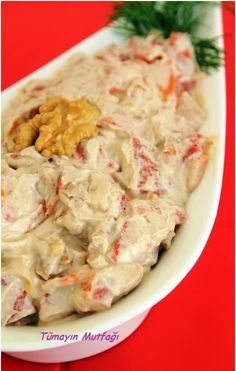 Roasted Pepper Salad with Tahinli Köz Biber Salatası Roasted Pepper Salad with Tahini - Tahini, Turkish Recipes, Ethnic Recipes, Appetizer Salads, Roasted Peppers, Watermelon Recipes, Homemade Desserts, Eating Plans, Freezer Meals