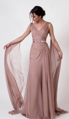 Elegant rose colored dress with gold belted waist