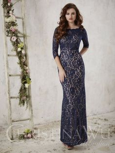 Christina Wu Celebrations 22717 A long dress draped in striking lace with    length sleeves and a lovely bateau neckline. Pictured In  Navy Blush Pink. 73464df9c828