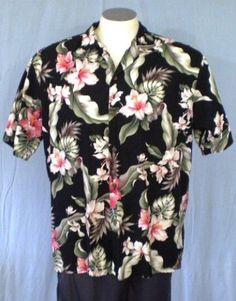 Ho Aloha Black Large Hawaiian Shirt Floral Design Cotton #HoAloha #Hawaiian