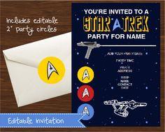 Star Trek Invitation DIY Printable Kit - INSTANT DOWNLOAD - Start Trek Inspired by CreativeLittleStars on Etsy