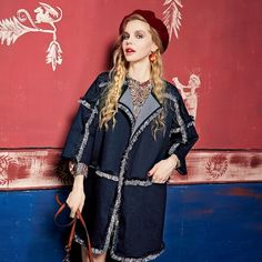 Elf Sack Autumn street style loose casual turn-down collar denim female trenchcoat| elfsack
