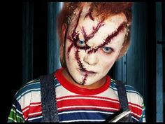 Hi, I'm a Chucky makeup tutorial! Wanna play? Brilliant tutorial including using a bald cap to pull your own hair through for that doll pattern-shaped hair. Awesome!