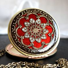 Upcycled Vintage Locket. Red Framed Brass Locket.    http://www.etsy.com/listing/93541255/red-necklace-enameled-necklace-vintage