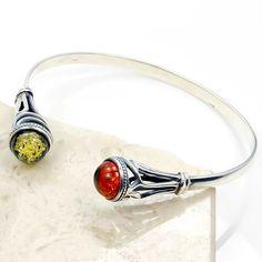 Spellbinding Sterling Silver Natural Baltic Amber Cuff Bracelet