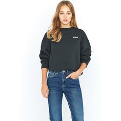 Fila Cassio Black Crew Neck Sweatshirt (€61) ❤ liked on Polyvore featuring tops, hoodies, sweatshirts, black, oversized tops, crew-neck sweatshirts, crew-neck tops, fila and oversized sweatshirts